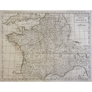 A New Correct Map of France - Original antique map, 1751