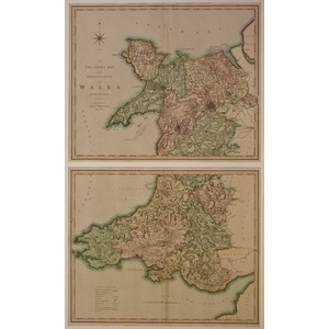 A two sheet map of the principality of wales divided into counties