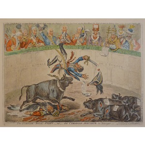 THE SPANISH BULL FIGHT OR THE CORSICAN MATADOR IN DANGER. Original copper engraving by James Gill...