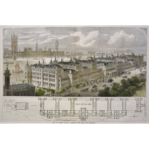 New St. Thomas's hospital, opened by the queen last Wednesday - Original antique woodcut engravin...