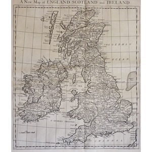 A New Map of England Scotland and Ireland - Original antique map by Rapin, 1751
