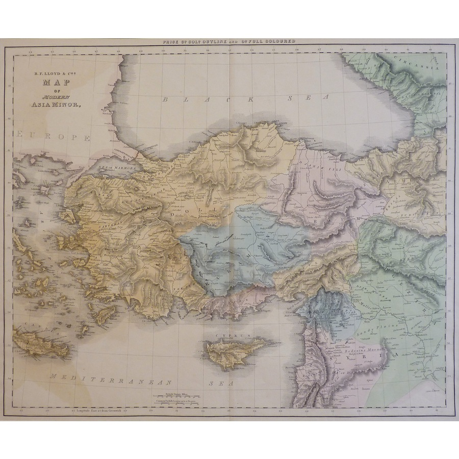 Map of Modern Asia Minor - Or. | Storey's