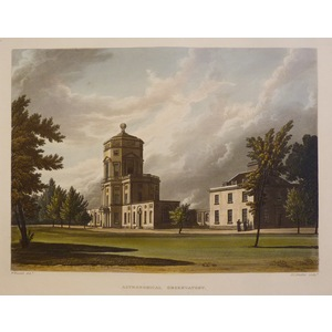 Astronomical observatory - Oxford. Original handcoloured aquatint engraving. Engraved by J C Stad...