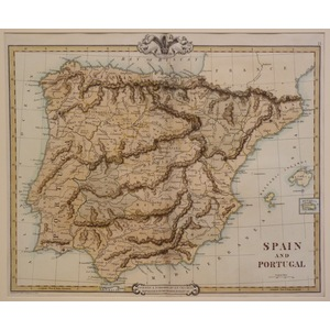 Spain and portugal - cruchley, 1856