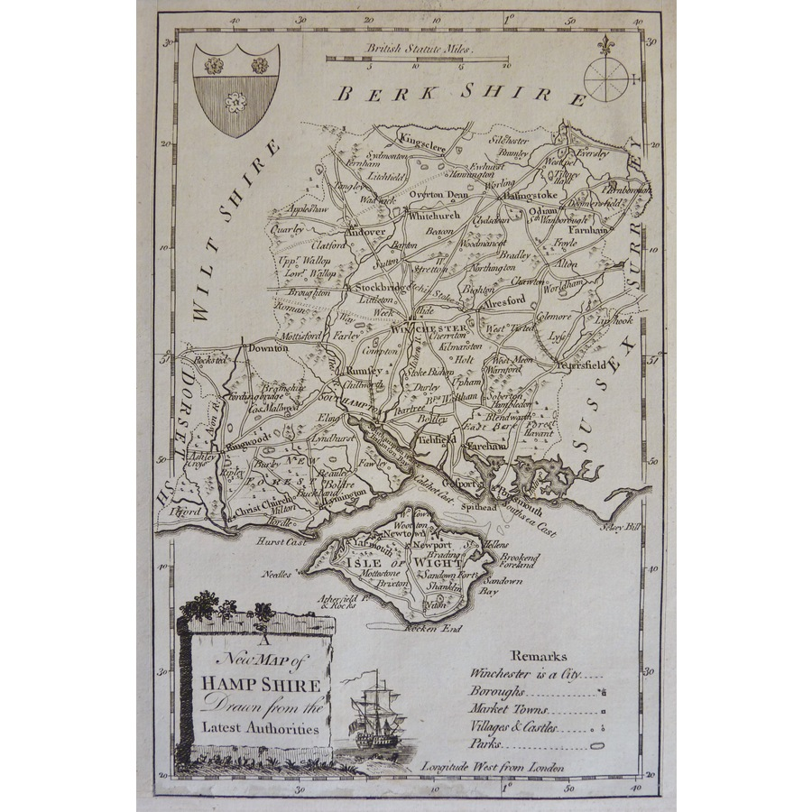 New Map of Hampshire Drawn fr. | Storey's