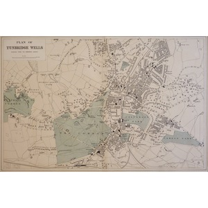 Tunbridge Wells - Original antique map. Published by G.W. Bacon, 1881 for the