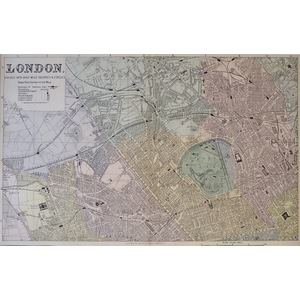 London, Divided into half-mile Squares & Circles (On 4 Sheets) - Original antique maps. Published...