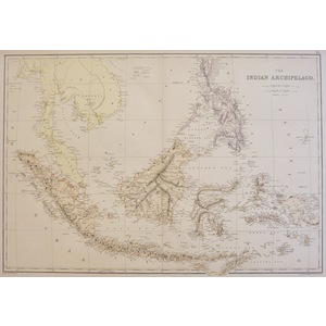 The Indian Archipelago -  Original antique map by Edward Weller  Chromolithograph  Drawn and engr...