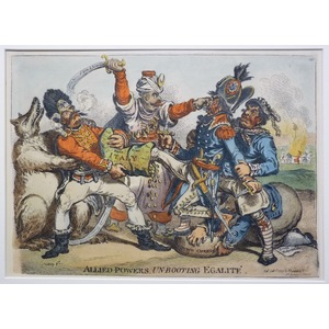Allied powers, unbooting egalite Original Antique Copper Engraving By James Gillray, 1851