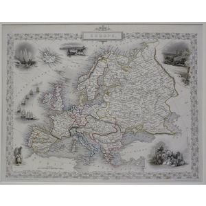Europe -  J. Tallis, 1851. Original Antique Steel Engraved Map. With Original Hand-Colour. Publis...