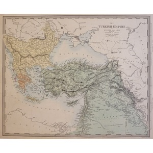 The Turkish Empire in Europe and Asia with the Kingdom of Greece - Original antique map. Engraved...