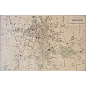 Cheltenham - Original antique map. Published by G.W. Bacon, 1881 for the