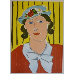 Matisse , Henri - Portrait of a Woman in a Blue Hat. Original lithograph published in 1939 by Ter...