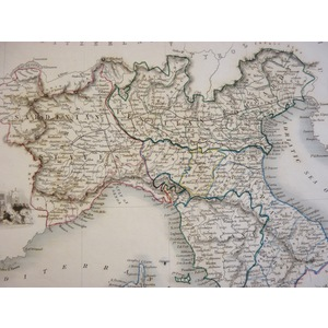 Northern Italy - J. Tallis, 1851. Original Antique Steel Engraved Map. With Original Hand-Colour....