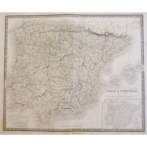 Johnston A. K. - Map of Spain and Portugal. Original antique steel-plate engraving with original ...