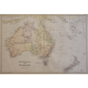 Australia and New Zealand - Original antique map, 1882