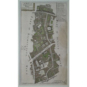 Stow, John (1525 - 1605) - A mapp of lime street ward - Original antique copper engraved map  Pub...