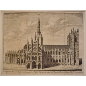 A perspective view of the collegiate church of st. Peter westminster with the towers & spire as d...