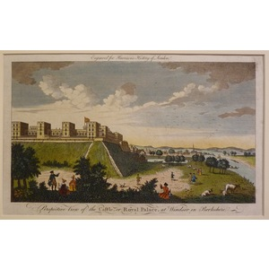 Perspective view of the castle or royal palace at windsor in berkshire