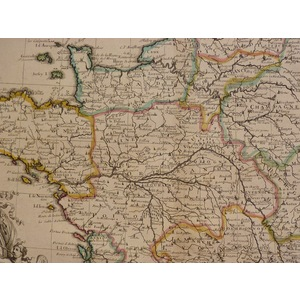 "Sennex ; John,  A New Map of France. Original hand coloured antique map. Published for ""A General..."