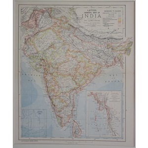 India, general map - letts, 1885