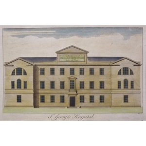 St. George's Hospital - Original antique copper engraving Engraved by Toms. Published by Stow for...