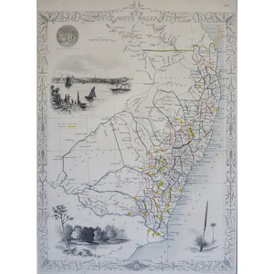 New South Wales - J. Tallis, 1851. Original Antique Steel Engraved Map. With Original Hand-Colour...
