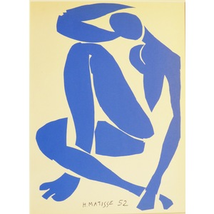 Matisse , Henri - Nue Blue Assise. Original lithograph published in 1958 by Teriade for Verve Mag...