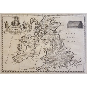 Britannia Romana or Roman Britain - Original antique map, published 1721