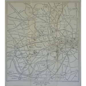 Railway Map of London, Showing at a Glance all the Tube & other Railways - Original antiqeu map p...