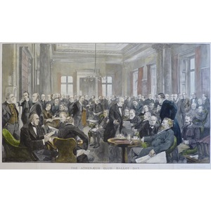 THE ATHENAEUM CLUB; BALLOT DAY. Original antique photogravure. Handcoloured. Published by the Ill...