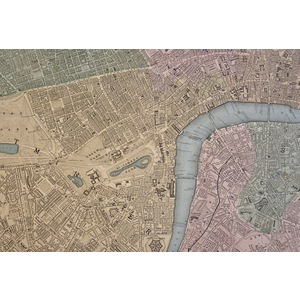 London - Original antique steel engraved map. With original hand-colouring. Published by Stanford...