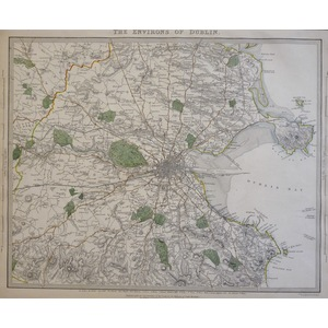 The Environs of Dublin - Original antique map by B.R. Davies, 1837