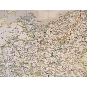 Prussia - Original antique map by Sydney Hall.  Steel-plate engraved with original hand-colouring...