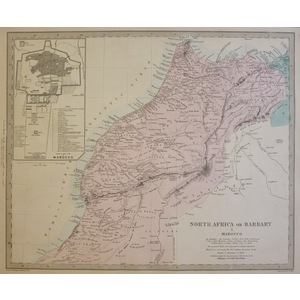 North Africa or Barbary, Sheet 1 - Marocco - Original antique map. Engraved by J and C Walker. Pu...