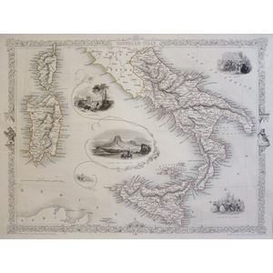 Southern Italy - J.  Tallis, 1851. Original Antique Steel Engraved Map. With Original Hand-Colour...
