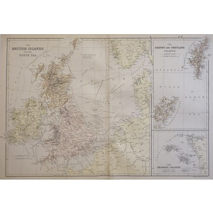 The British Islands and the North Sea - Original antique map published by Blackie & Son, 1878