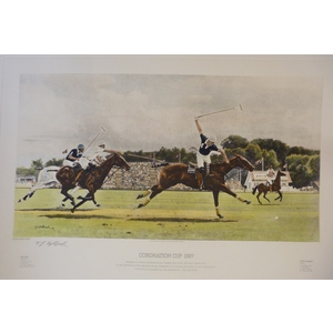 Coronation Cup 1987.  England v North America. Handcoloured copper engraving. Signed be the artis...