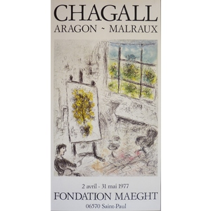 Chagall, Marc (1887 - 1985)  Aragon, Malraux.  Original advertising poster for an exhibition of C...