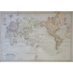 The World on Mercator's Projection - Original antique map - Published 1882