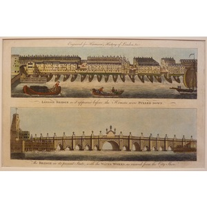 London bridge as it appeared before the houses were pulled down