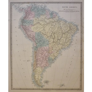 South America - Original antique map. Engraved by J and C Walker. Published by Edward Stanford, 1...