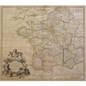 Sennex; John (1678 – 1740) A new map of france showing the roads and post stages throughout that ...