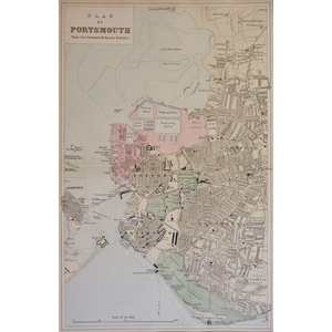 Portsmouth, Mouth of - Original antique map. Published by G.W. Bacon, 1881 for the