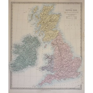 The British Isles - Original hand coloured antique map. Engraved by J and C Walker. Published by ...