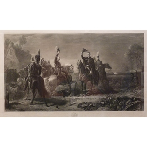 The Meeting At Of Wellington and Blucher on the Evening of the Victory at Waterloo. Original anti...