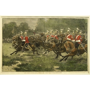 Grand review before the queen in windsor park: charge of the 5th and 7th dragoon guards