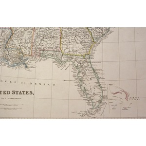 United States - Original antique map by J. Arrowsmith.  Steel engraved with original hand colouri...