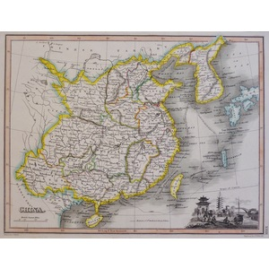 China - Original antique map. Copper engraved with original hand colouring. Published by John Tho...