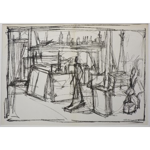 Unititled 2, by Giacometti - Original lithograph, for Derriere le Miroir No. 39-40, published 1951